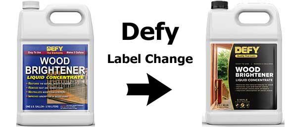 Defy Wood Brightener Label Change